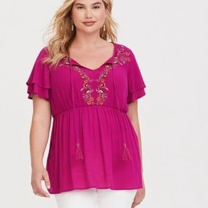 2x 2  Torrid Rose Pink Embroidered Babydoll Top